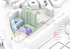 City of Paris Approves MVRDV's Restructuring of Montparnasse Superblock,New Program Diagram . Image © l'autre image