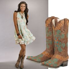 Cocktail Dress And Cowboy Boots | When Women Meet Cowboy Boots It's Catchy :-)