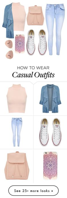 """Casual wear"" by tward3 on Polyvore featuring WearAll, Evans, Glamorous, Converse, New Look and Ray-Ban"