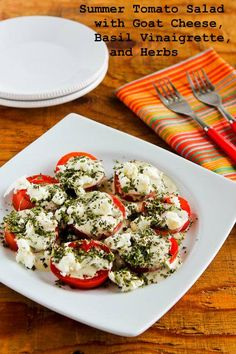 Summer Tomato Salad with Goat Cheese, Basil Vinaigrette, and Fresh Herbs; I've been making this favorite salad for years! [from Kalyn's Kitchen] #LowCarb #GlutenFree #SouthBeachDiet