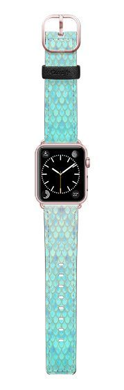 Casetify Apple Watch Band (38mm) Saffiano Leather Watch Band - Mint Mermaid Scales by Art Love Passion