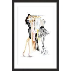 Marmont Hill Clothes Rack by Claire Thompson Framed Painting Print, Size: 20 inch x 30 inch, Black Painting Frames, Painting Prints, Eiffel Tower Art, Framed Art Prints, Canvas Prints, Kids Clothing Rack, Glass Printing, Paper Artwork, Handmade Clothes