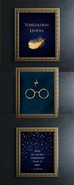 AKAFoils: Harry Potter Wall Art Gold Foil Print #PaidAd, #ad, #affiliatelink #harrypotter #magic #posters #art