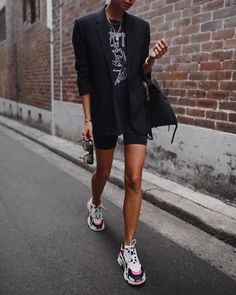 """ANDY CSINGER on Instagram: """"Hopping on that """"cycling shorts trend"""" train just like that 🕶 // tap for details #balenciaga #celine #iroparis #ootd"""" Sneaker Outfits Women, Sneakers Fashion Outfits, Blazer Outfits, Business Outfit, Cycling Shorts, Fashion 2018, London Fashion, Spring Fashion, Womens Fashion"""