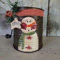 Primitive Snowman Vintage Metal Flour by FlatHillGoods on Etsy