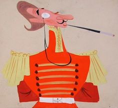 """Concept art of the Duke by Mary Blair for Disney's """"Cinderella"""" (1950)."""