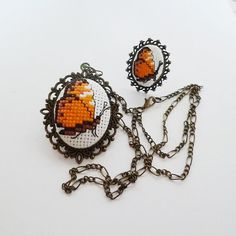 Butterfly necklace,Butterfly set,Orange set,Butterfly ring,Orange butterfly,Unique jewelry,Embroidered pendant ring,Gift set,Valentines day