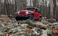 Download wallpapers Jeep Wrangler Rubicon, 4k, 2018 cars, offroad, forest, Jeep Wrangler, red Wrangler, Jeep