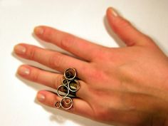 Bubbles ring handmade copper and brass circles by BaccaraJewelry, $45.00