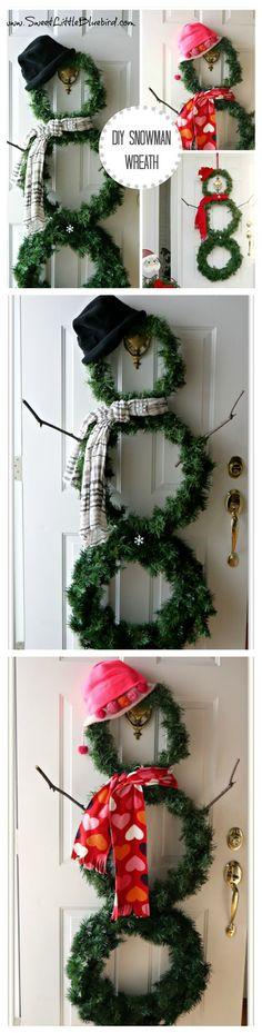 Festive Christmas Wreath Ideas Snowman wreath, Wreath tutorial and - christmas wreath decorations