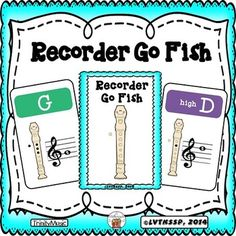 "Help your students remember their recorder note fingerings (as well as where the note is on the treble clef staff) with this version of the classic ""Go Fish"" game.  14 fingerings (low C, low D, E, F, F#, G, Ab, A, Bb, B, high C, high D, high E and high F) are included in this game."
