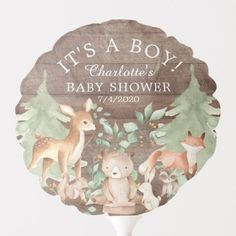 Shop Rustic Woodland Animals Baby Shower Balloon created by invitationstop. Personalize it with photos & text or purchase as is!