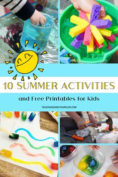 It's summer break and the temperature is rising. This collection of summer activities for kids will not only keep them cool, but also busy! Summer Activities For Toddlers, Outdoor Summer Activities, Lesson Plans For Toddlers, Summer Fun For Kids, Preschool Learning Activities, Toddler Activities, Fun Activities, Toddler Learning, Preschool Summer Theme