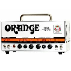 The Orange Dual Terror DT30-H is a 30-watt twin channel all tube guitar amp head. It has dedicated Gain, Tone and Volume knobs for each channel, and a 3-position power switch that lets you cut the output power from 30 to 15 to 7 watts. The DT30-H comes with a padded gig bag carrying case. This amp is little in size, but don't let that fool you, it has HUGE tone and plenty of volume! The Dual Terror is powered by four 12ax7 preamp tubes and four EL84 power tubes,which sound great when pushed.