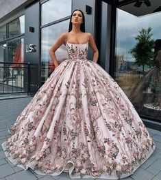 Buy Princess Ball Gown Spaghetti Straps Beads Floral Print Prom Dresses Long Quinceanera Dress Online – SisaStore This dress could be custom made, there are no extra cost to do custom size and color. Pretty Prom Dresses, Elegant Dresses, Fancy Dresses For Weddings, Dresses For Prom, Pastel Prom Dress, Pastel Wedding Dresses, Pretty Quinceanera Dresses, Floral Prom Dresses, Straps Prom Dresses