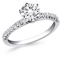 14K White Gold Engagement Ring with Fishtail Diamond Accents (23.111.765 IDR) ❤ liked on Polyvore featuring jewelry, rings, band rings, 14k ring, vintage engagement rings, 14k vintage charms and 14k white gold ring