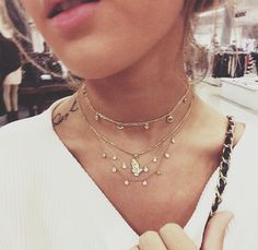 For a more low-key feel , throw on a delicate chocker and layer with different lengths for added dimension