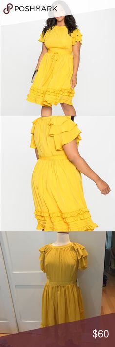"Ruffles and Pintucks Fit and Flare Dress-NWT What could be better this summer than ruffles and gathers and fluttery sleeves, all in a soft, butter yellow colorway?! Style simply with white pumps and a metallic clutch for a fresh finish to this summer style. Invisible back zipper. Encased elastic in back waistband. Fit and flare silhouette. Non-stretch woven fabric Dress Length: 45"" 100% Polyester; Lining: 95% Polyester / 5% Spandex Machine wash cold with like colors. Only non-chlorine bleach…"