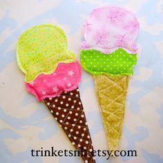 Big Ice Cream Cones Embellishment Set by trinketsnh on Etsy, $7.25