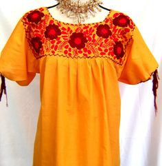 04a706c6ff8a8 EMBROIDERED Huipil Mexico Hippie Boho Yellow BLOUSE Peasant Frida Red  flowers embroidered Size M L