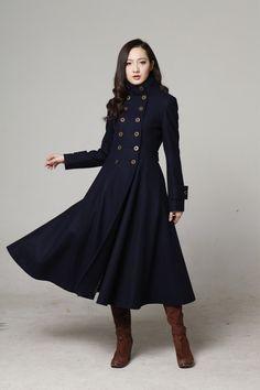 Long trench coat, navy coat, elegant coat, wool coat, warm coat ...