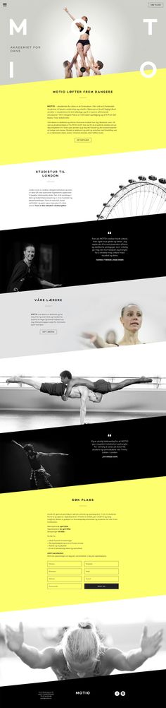 Slick One Pager for dance academy Motio featuring good whitespace and imagery that fills a big screen well. Thank you for the lovely build notes. (in the full review)