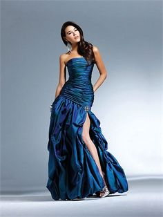 Strapless A-Line Ruche open back blue Long with Sequins Prom Dress PD0935