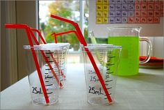 Science party. just write on clear cups to turn them into beakers.