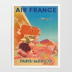 """American Airlines 8.5/"""" X 11/""""  Travel Poster MEXICO"""