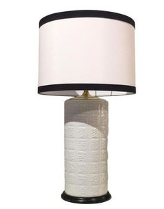 Mid Century James Mont Style Lamp, Black/White Linen Shade