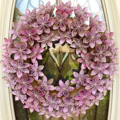 Pink origami country barnyard wreath