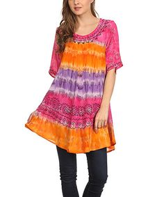 Another great find on #zulily! Pink & Orange Tie-Dye Scoop Neck Tunic #zulilyfinds