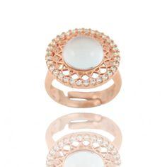 Sortija Piedra Plata/Oro Rosa con circonitas/ Ring with Stone and Zirconites in Silver/Pink Gold