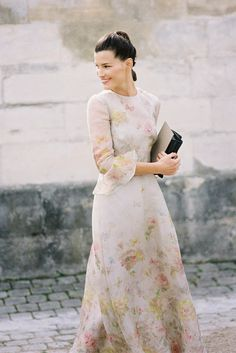 Long and lovely floral-print dress