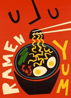 Yum Ramen - Fox & Velvet - Poster im Kunststoffrahmen Food Graphic Design, Food Poster Design, Japanese Graphic Design, Graphic Design Posters, Art Design, Graphic Design Inspiration, Book Design, Cover Design, City Poster