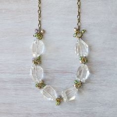 Clear Nugget Czech Glass Swarovski pearl and by YuniDesigns
