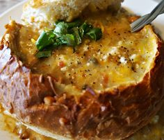 Green Chili Bread Bowl Wonderful warm sourdough bread to scoop up the hot gooey cheesy green chili! Vegetarian - omit pork from chili.