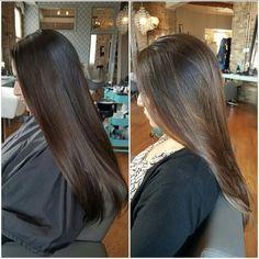 Caramel balayage on straight brown hair