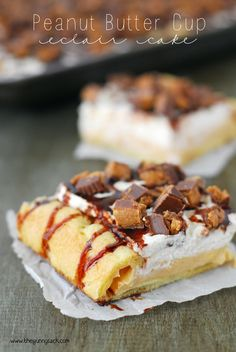 Peanut Butter Cup Eclair Cake Recipe ~ an easy dessert recipe with a pastry crust topped with creamy peanut butter pudding, whipped cream and Reese's Peanut Butter Cups!