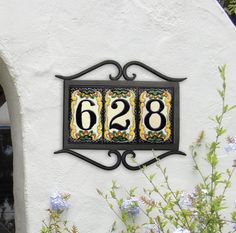 Beautiful, intricate house numbers and spacers will provide an eye-catching statement to the entrance of your home. Ceramic House Numbers, Tile House Numbers, House Number Plaque, Spanish House, Spanish Tile, Ceramic Houses, Address Plaque, Exterior Remodel, Girl House