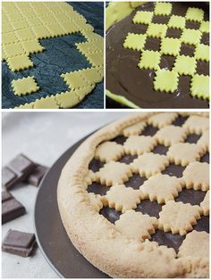 Crostata al cioccolato (chocolate pie) - recipe Pie Recipes, Sweet Recipes, Crumble Pie, Pie Decoration, Edible Food, Bread And Pastries, Colorful Cakes, Cake Cookies, Cookie Decorating