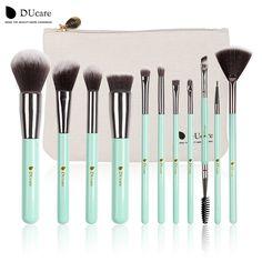 DUcare 11pcs Makeup Brushes Kit Set Powder Foundation Eyeshadow Eyeliner Lip Brush Tool mint green Soft Synthetic Hair