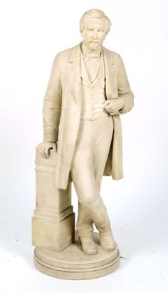 Guillaume Geefs (sculpteur officiel du Roi Léopold Ie - Belgique 1805-1883) Statue figurant un homme debout, le bras droit appuyé sur une colonne. Marbre blanc de Carrare sculpté. Signé G. Geefs et daté… - Galerie Moderne - 14/10/2015