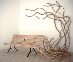 Beautifully surreal - this park bench sprouts a life of it's own #art #furniture #photo  This bench is one in a series of four related benches by artist & designer Pablo Reinoso.