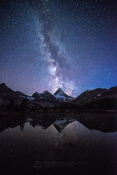 Starry Night by Pete Wongkongkathep on 500px... The Milky Way over Mount Assiniboine. #assiniboine #canada #milky way #mount #night #reflection #star