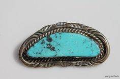Vintage Cherokee Indian Sterling Silver Morenci Turquoise Brooch
