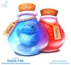 Daily Paint Mana-tee by Cryptid-Creations on DeviantArt Cute Animal Drawings, Kawaii Drawings, Cute Drawings, Horse Drawings, Cute Fantasy Creatures, Cute Creatures, Anime Animals, Cute Animals, Animal Puns