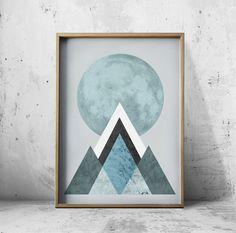 Posters Wall Art Poster Moon Print Mountain Print Mountain Art Mountain Poster Moon Art Geometric Decor Geometric wall art