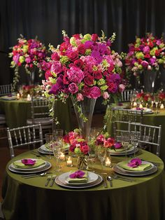 Reception flowers in Footed Flared Vase