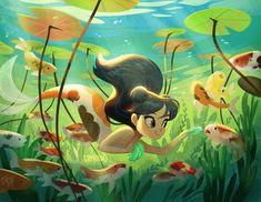 Mermaid Illustration, Cute Illustration, Character Illustration, Watercolor Illustration, Underwater Drawing, Underwater Photos, Underwater Photography, Film Photography, Street Photography